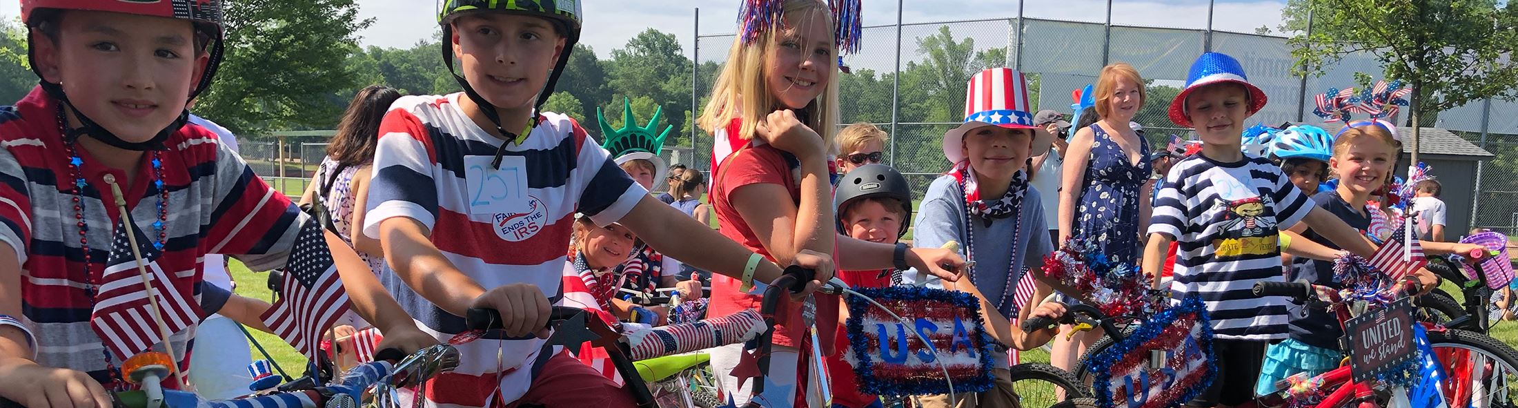 Kids on bikes for Independence Day parade