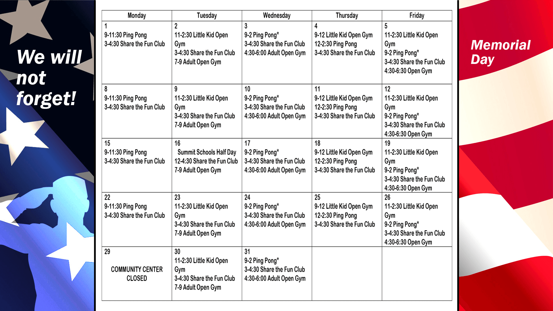 Monthly Schedule May